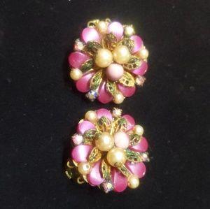 Vintage Pink Beaded Clip-on Earrings
